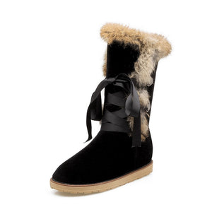 Lace Up Rabbit Fur Flat Snow Boots Women Shoes 8274