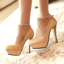 Load image into Gallery viewer, Rhinestone Tassel Ankle Straps Women Platform Pumps High Heels Wedding Shoes Woman
