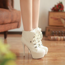 Load image into Gallery viewer, Round Toe Lace Up Ankle Platform Motorcycle Boots Stiletto Heel 9154