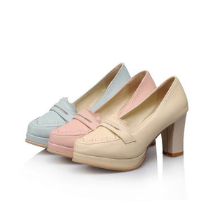Round Toe Women Chunky Heel Pumps Platform High Heels Shoes Woman