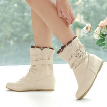 Load image into Gallery viewer, Lacing Women Ankle Boots Buckle Soft Leather Wedges Shoes Woman 2016 3378