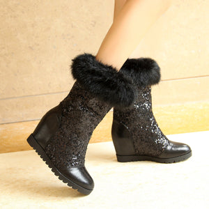 Women Snow Boots with Fur High Heels Wedges Platform Sequined Winter Shoes Woman 2016 3578