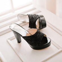Load image into Gallery viewer, Peep Toe Lace Platform Slides Sandals High Heels 2695