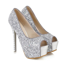 Load image into Gallery viewer, Sequined Platform Pumps Peep Toes Ultra High Heels Spike Shoes Woman
