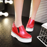 Women Platform Wedges Loafers Shoes High Heel