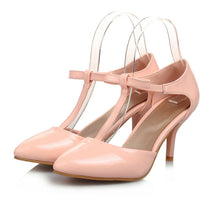 Load image into Gallery viewer, Pointed Toe T Straps Bow Sandals Thin Heels 5456