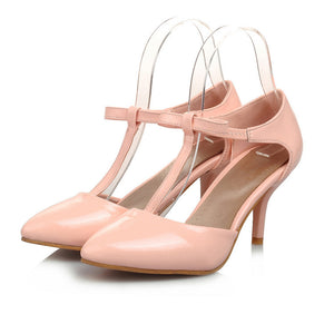 Pointed Toe T Straps Bow Sandals Thin Heels 5456