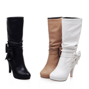 Bowtie Mid Calf Boots High Heels Spike Heel Shoes Woman