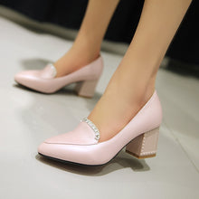 Load image into Gallery viewer, Rhinestone Chunky Heel Pumps Platform High Heels Fashion Women Shoes 6217