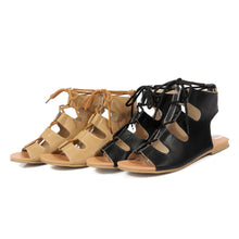 Load image into Gallery viewer, Lace Up Women Flats Sandals Shoes Woman
