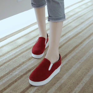 Flock Wedges Platform High Heels Women Shoes 9688