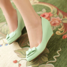 Load image into Gallery viewer, Bow Wedges Pumps Platform High Heels Women Shoes 7825