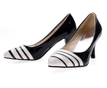 Load image into Gallery viewer, Women High Heels Shoes Pointed Toe Pumps Black White 9877
