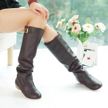 Load image into Gallery viewer, Soft Leather Buckle Knee High Boots Low Heeled Women Shoes 9609