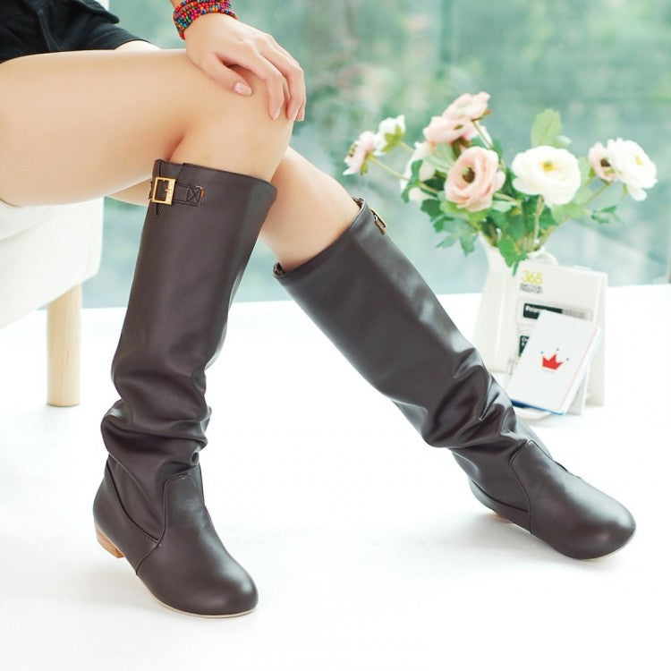 Soft Leather Buckle Knee High Boots Low