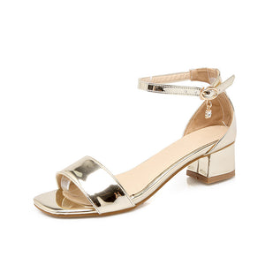 Women Sandals Patent Leather Ankle Straps Pumps High-heeled Shoes