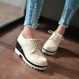 Lace Up Pu Leather Women Wedges Platform Shoes High Heels Size 34-43