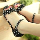 Polka Dot Flats Sandals Women Bowtie Ankle Straps Shoes Woman