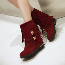 Load image into Gallery viewer, Women Tassel Mid Calf Boots Height Increasing Wedges Shoes Woman 2016 3514