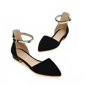 Pointed Toe Ankle Strap Flats Sandals Women 7650