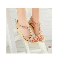 Load image into Gallery viewer, Rhinestone Wedges Sandals Women Platform Sandals Beach Shoes Woman