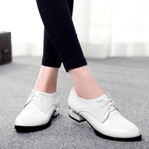 Patent Leather Women Pumps Lace Up Pointed Toe Square Heel Shoes Woman