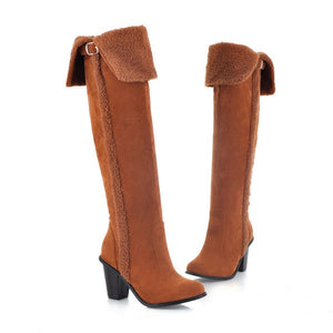 Fur Women Thigh High Boots Winter High Heels Shoes Woman 3347