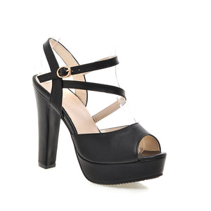 Women Sandals Pumps Platform Peep Toes High-heeled Shoes