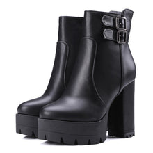 Load image into Gallery viewer, Metal Buckle Side Zipper Chunky Heel Platform Ankle Boots 1940