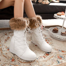 Load image into Gallery viewer, Fur Wedges Platform Boots Lace Up Winter Shoes Woman