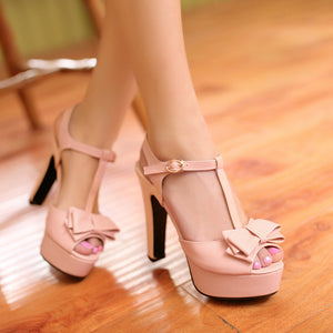 Bowtie Platform Sandals T Straps Women Pumps High Heels Shoes Woman