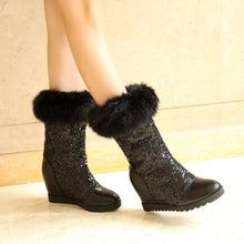 Load image into Gallery viewer, Women Snow Boots with Fur High Heels Wedges Platform Sequined Winter Shoes Woman 2016 3578