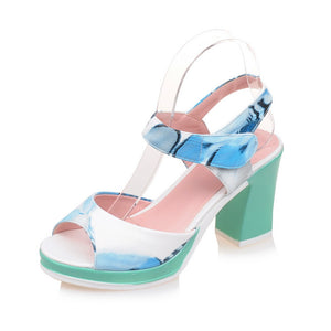 Women Sandals Peep Toes Flower Printed Pumps Platform High-heeled Shoes