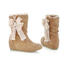 Load image into Gallery viewer, Bowtie Wedges Boots Round Toe Artificial Suede Shoes Woman 3337