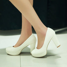 Load image into Gallery viewer, Simple Chunky Heel Pumps Platform High Heels Fashion Women Shoes 8306
