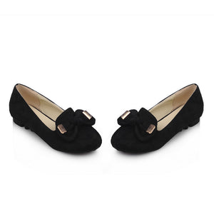 Fashion Bow Round Toe Flats Women Shoes 4410