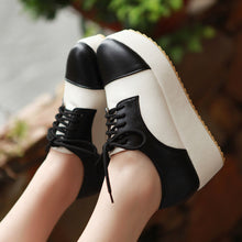 Load image into Gallery viewer, Lace Up Women Wedges Mixed Color Round Toe Platform Shoes