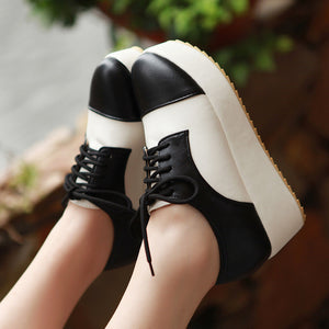 Lace Up Women Wedges Mixed Color Round Toe Platform Shoes