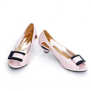Peep Toes Sandals Square Buckle Women Pumps High Heels Shoes Woman