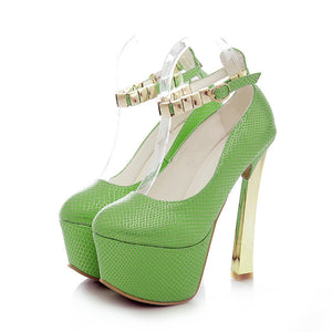 Sequined Women Pumps Platform Ankle Straps High Heels Party Shoes Woman