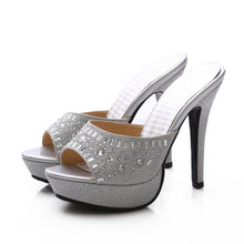 Load image into Gallery viewer, Rhinestone Platform Slides Sandals Stiletto Heel Wedding Shoes 2897