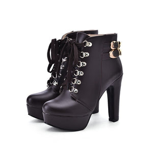 Lace Up Buckle High Heels Platform Ankle Boots Chunky Heel 5711