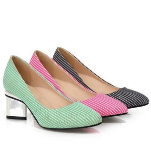 Striped Women Pumps High Heels Square Heel Shoes Woman