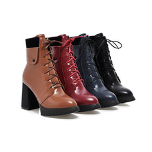 Load image into Gallery viewer, Fashion New 2016 Women Ankle Boots Pu Leather Lace Up Shoes 4973