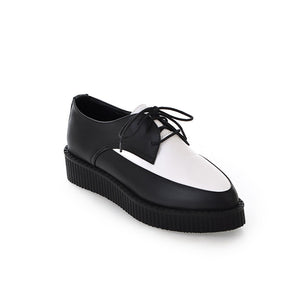 Pointed Toe Lace Up Women Pltaofrm Shoes 9768