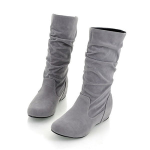 Artificial Suede Mid Calf Boots Shoes Woman Bowtie Rhinestone Wedges Women Boots 3344