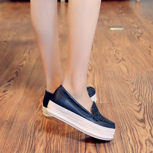 Load image into Gallery viewer, Round Toe Women Wedges Loafers Platform Shoes