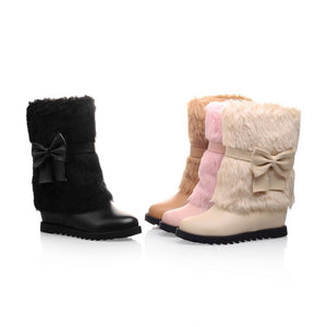Snow Boots with Fur and Bow Wedges Winter Women Shoes