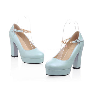 Metal Chain Platform Pumps High Heels Shoes Woman