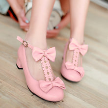 Load image into Gallery viewer, Bow Women Pumps T Straps Cutout Shoes Woman